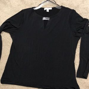 Black long sleeve jersey MK top